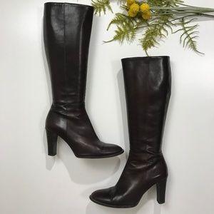J. Crew Brown Leather Knee High Zip Up Boots